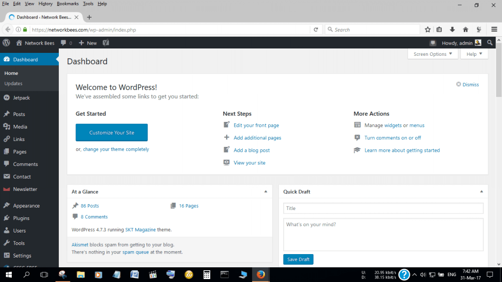 Check Website Traffic through the WordPress Dashboard