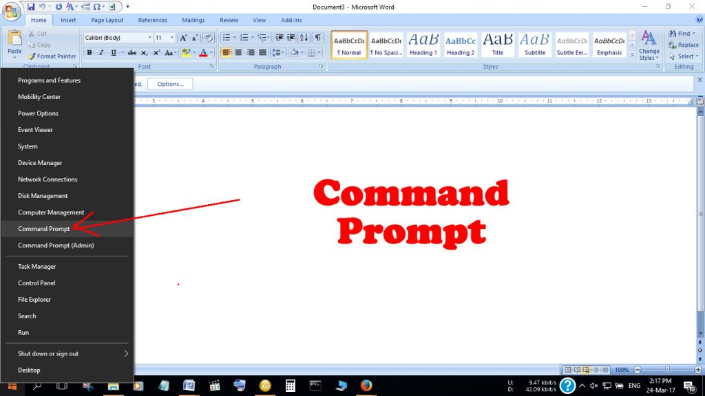 Choose the option to Open Command Prompt