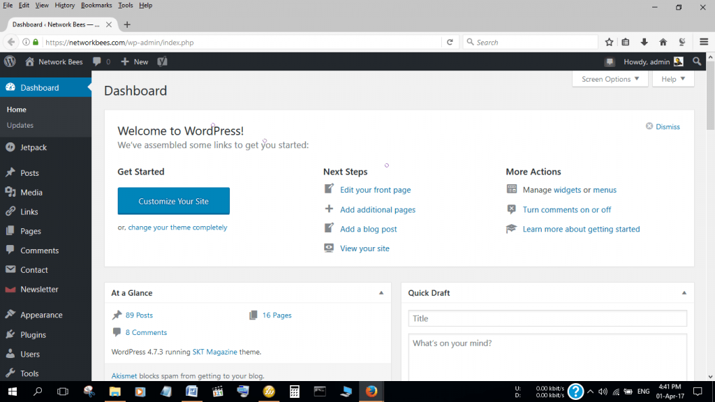 The backend of my WordPress Website