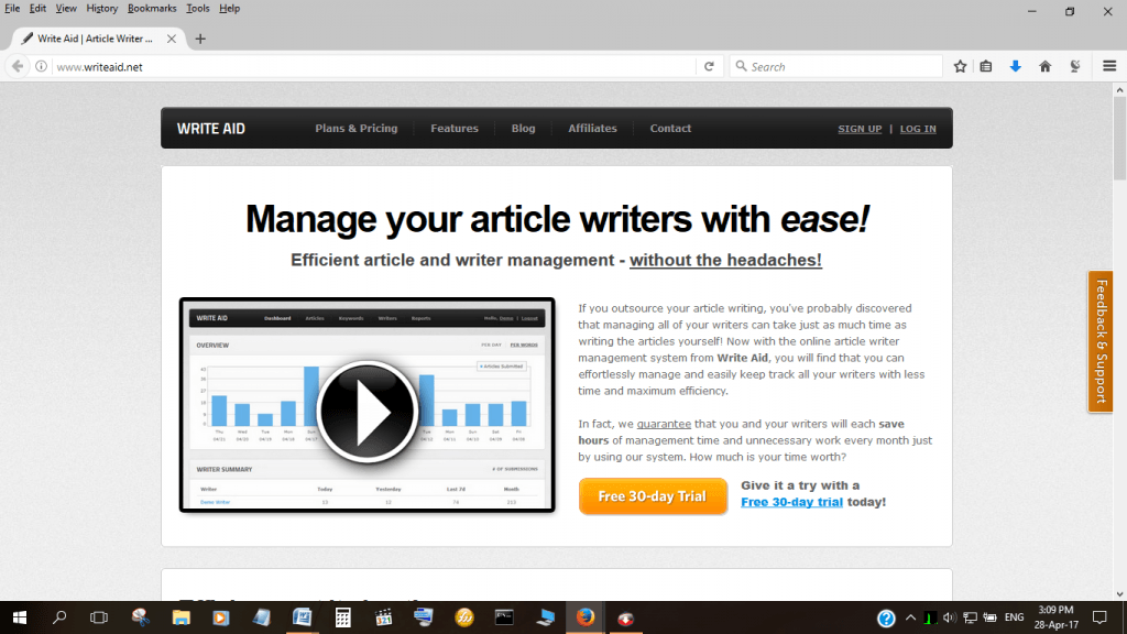 Write Aid Writer Management Software