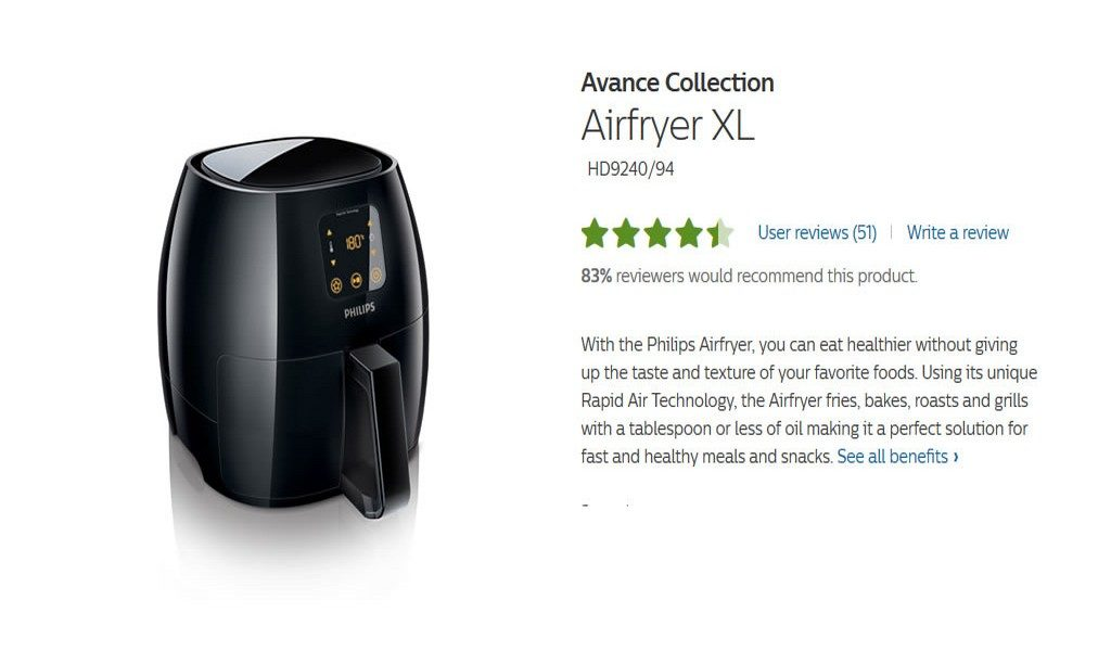 The Philips XL AirFryer