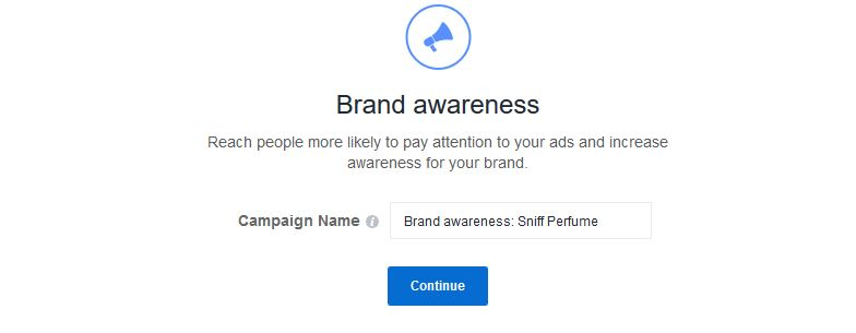 Give your Facebook Ad Campaign a name
