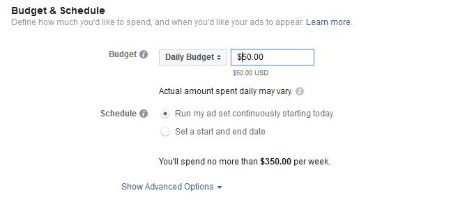 Set a budget for your Facebook Ad