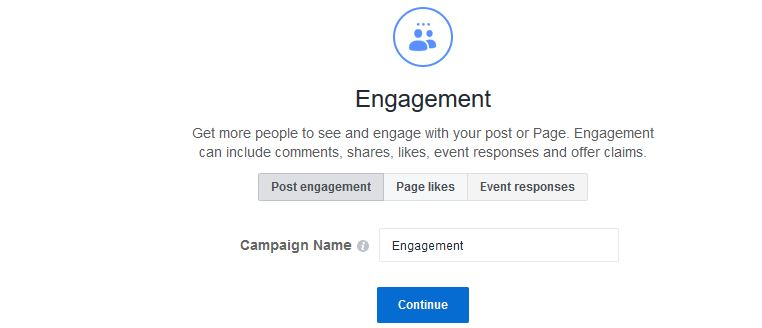 Choose engagement as your traffic objective