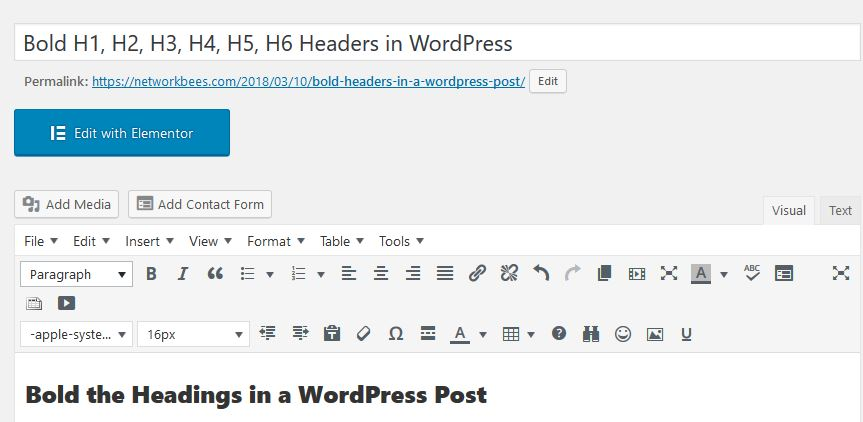 bold headers in a WordPress Post