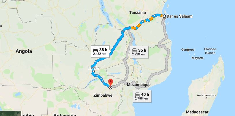 driving from dar es salaam to Zimbabwe