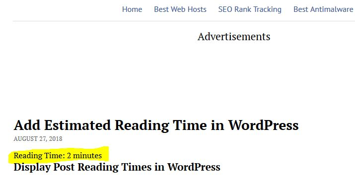 add reading time in WordPress articles