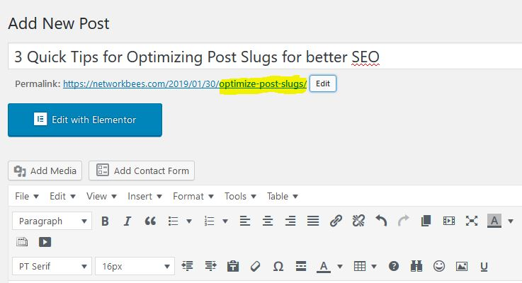 Its important to optimize post slugs in your articles