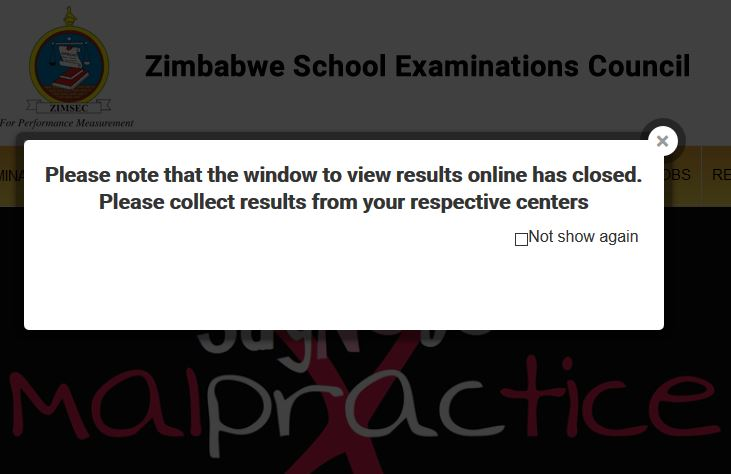 ZIMSEC closes online results checking portal