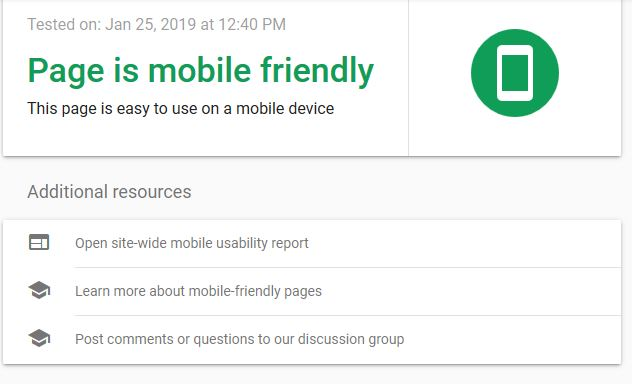 our page is mobile friendly