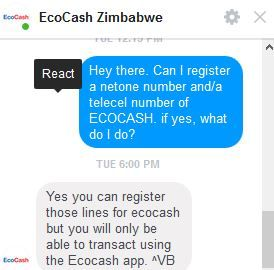 Register a NetOne number on Ecocash
