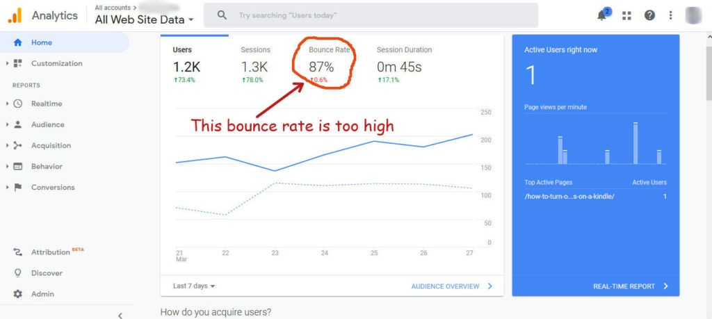 bounce rate in Google Analytics bonce rate