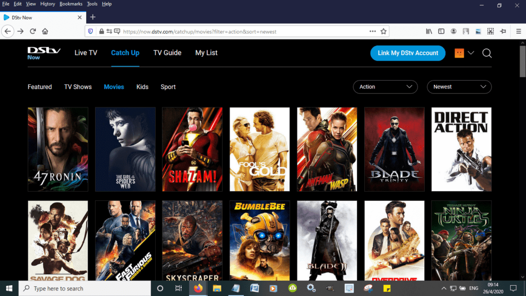 DSTV Catch Up Movies List