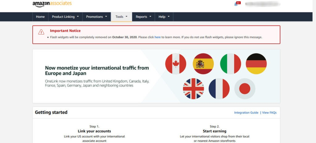 Implement OneLink to monetize Amazon international traffic