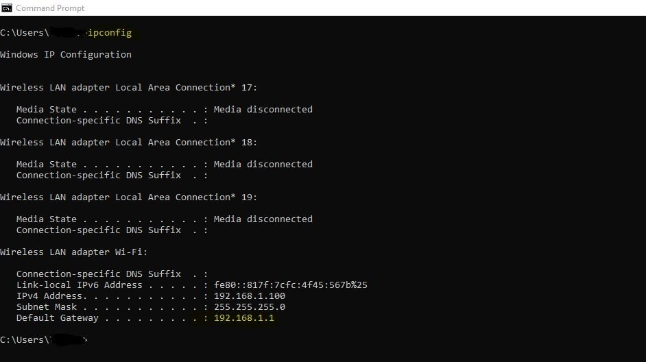 find router's I.P address using Command Prompt