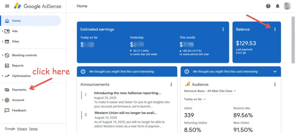 increase AdSense payment threshold