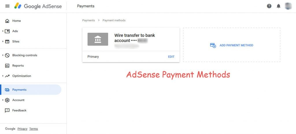 AdSense payment methods