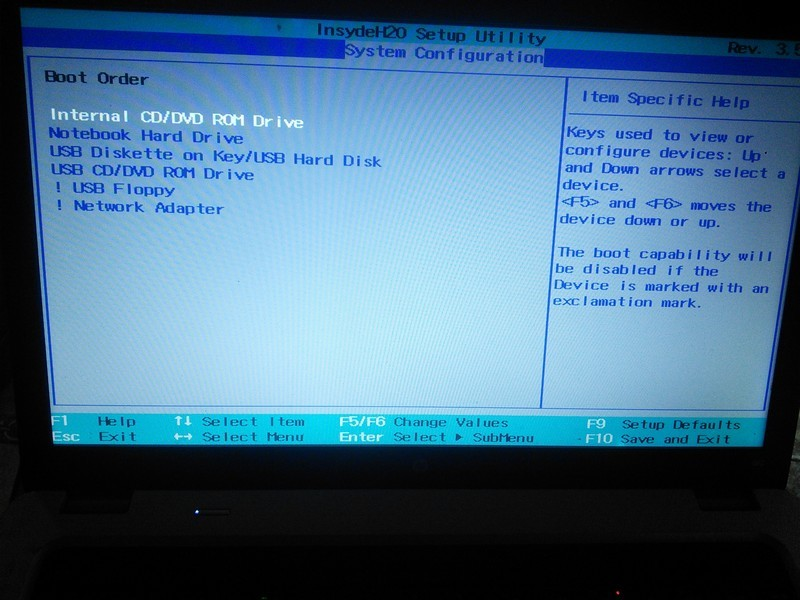 change boot order in bios