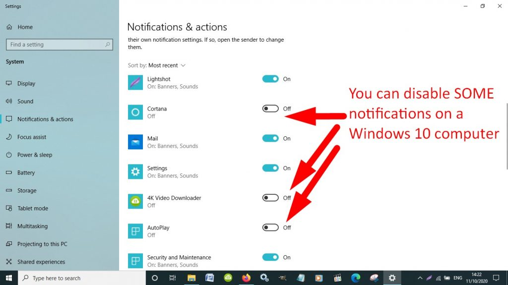 disable a few Windows 10 notifications
