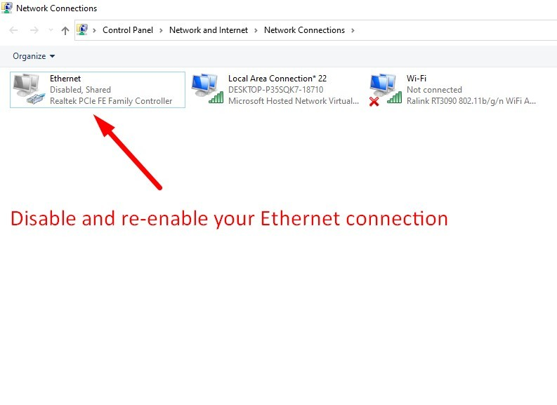 disable and re-enable your Ethernet connection