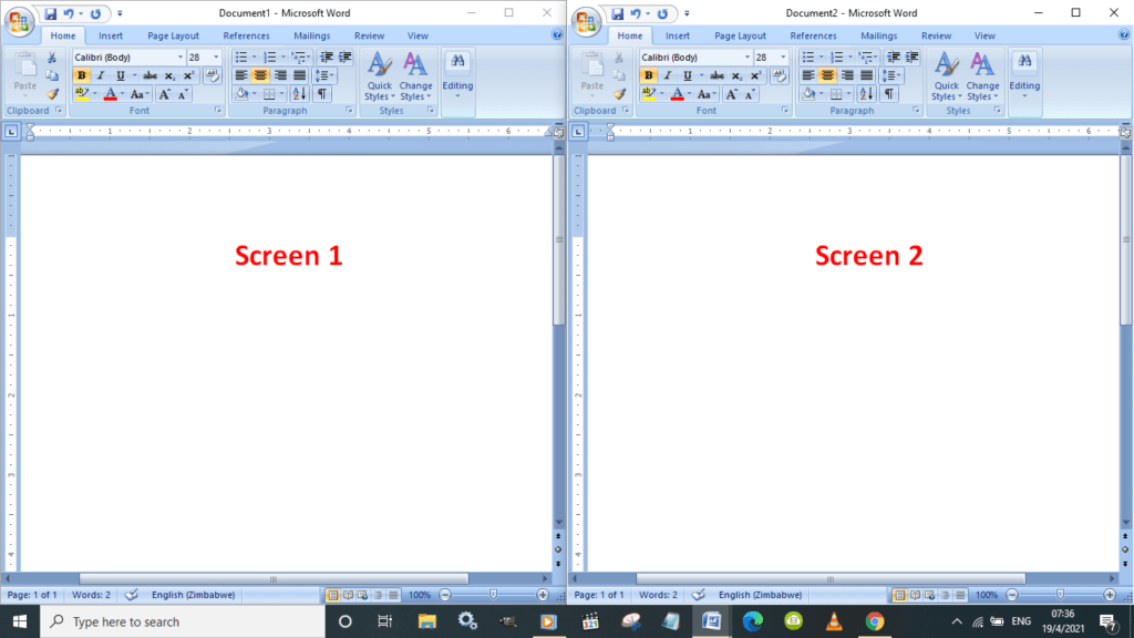 Example of how to split the screen 2 ways on a Windows 10 computer