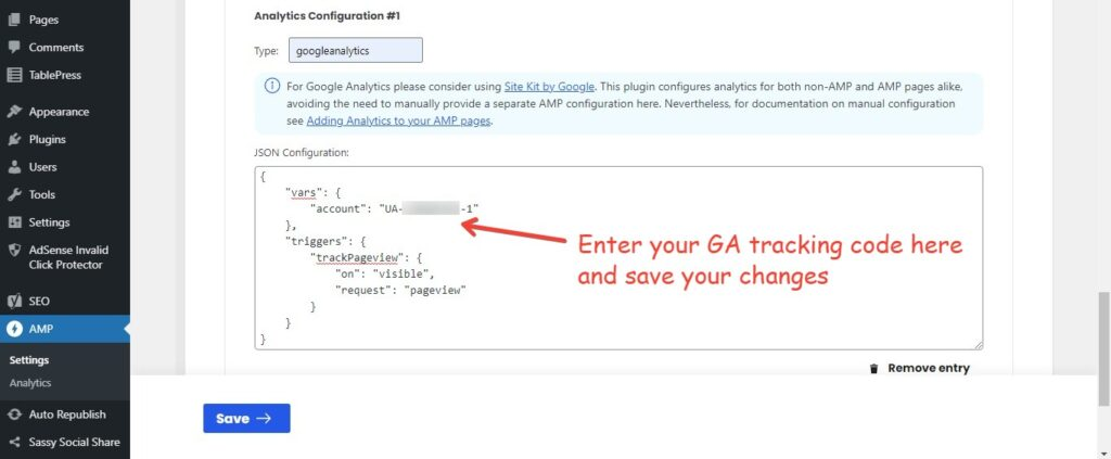 enter your GA tracking code your the AMP property
