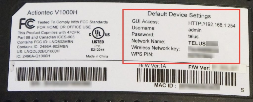 Example of a Telus router label