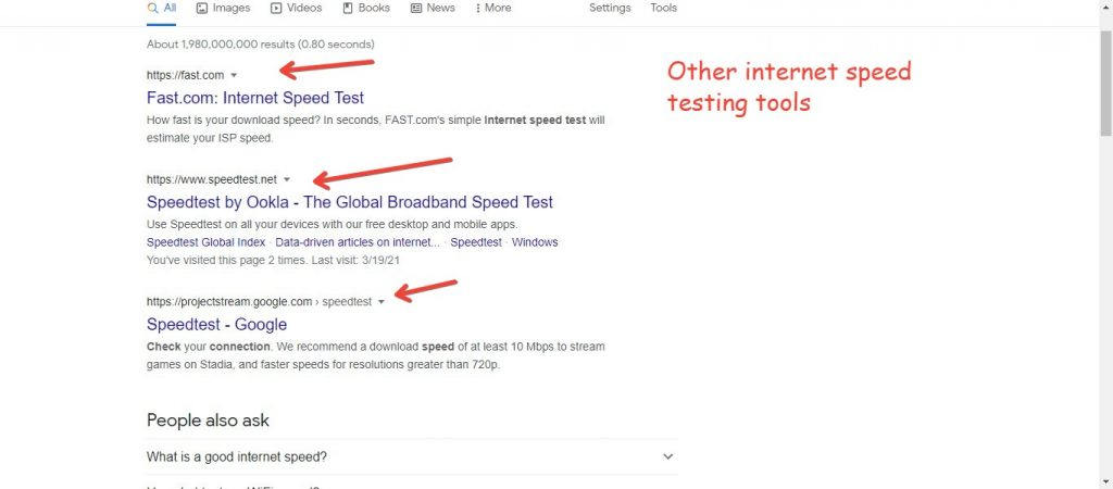 Other internet speed testing tools
