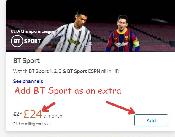 How much is BT Sport on Sky?