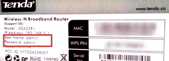 Tenda router password and username on the router label