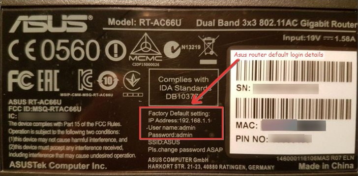 Default Asus Router Password and Username
