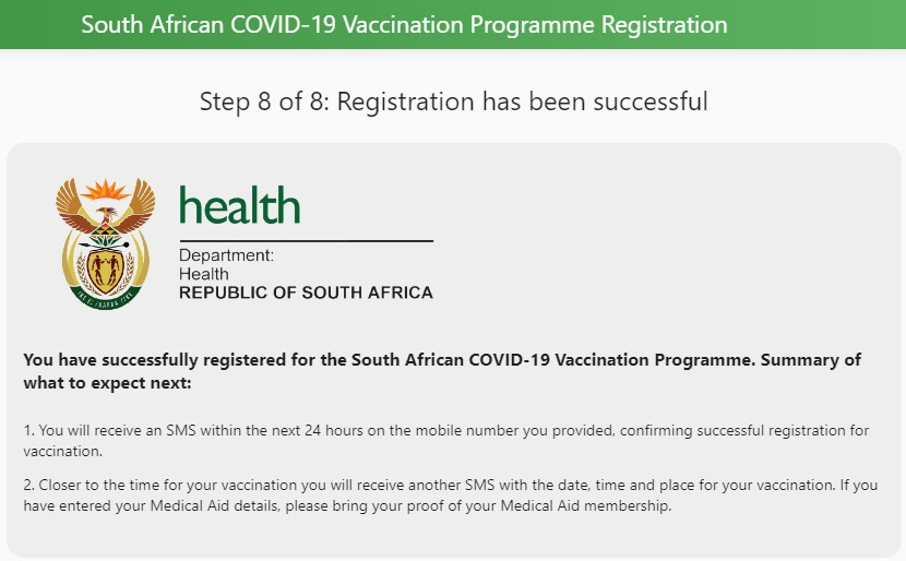 We have successfully registered for a Covid 19 vaccine online in South Africa